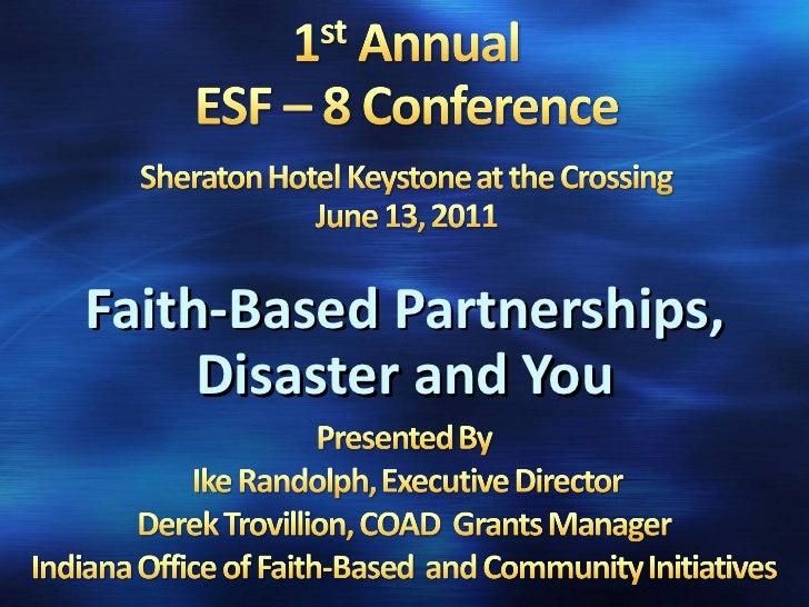 Faith-Based Partnerships, Disaster and You