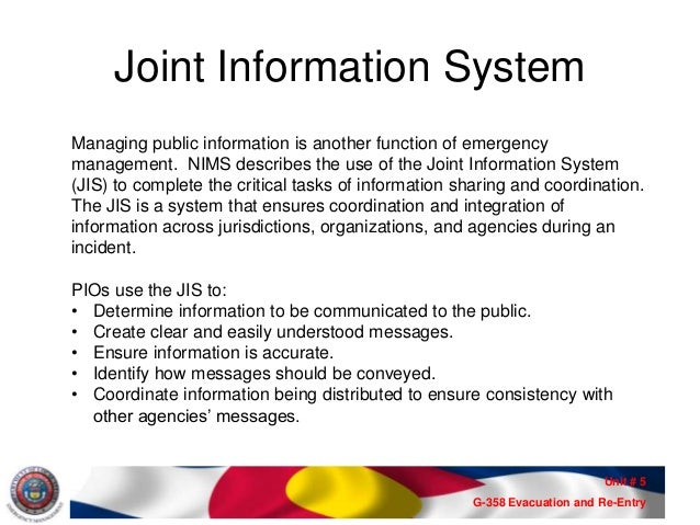 ESF15 Information Management -PIO Awareness