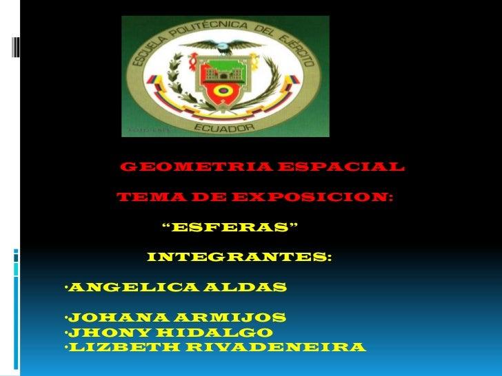 """GEOMETRIA ESPACIAL<br />              TEMA DE EXPOSICION:<br />                """"ESFERAS""""<br />                      INTEGR..."""
