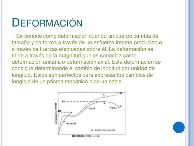 DEFORMACIÓNSe conoce como deformación cuando un cuerpo cambia detamaño y de forma a través de un esfuerzo interno producid...