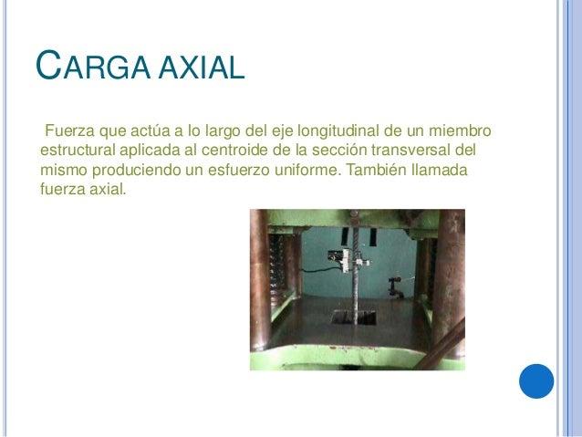 CARGA AXIALFuerza que actúa a lo largo del eje longitudinal de un miembroestructural aplicada al centroide de la sección t...