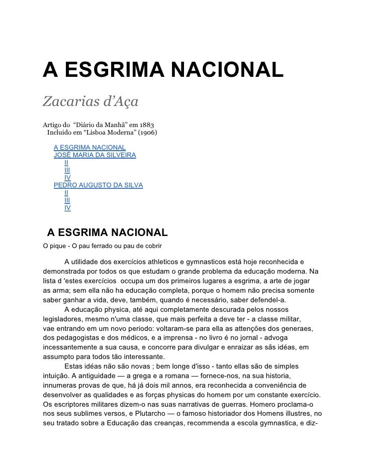 """A ESGRIMA NACIONALZacarias d'AçaArtigo do """"Diário da Manhã"""" em 1883 Incluido em """"Lisboa Moderna"""" (1906)   A ESGRIMA NACION..."""