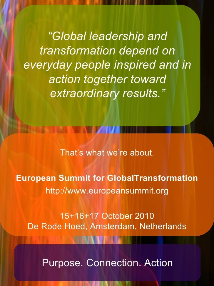 """"""" Global leadership and transformation depend on everyday people inspired and in action together toward extraordinary resu..."""