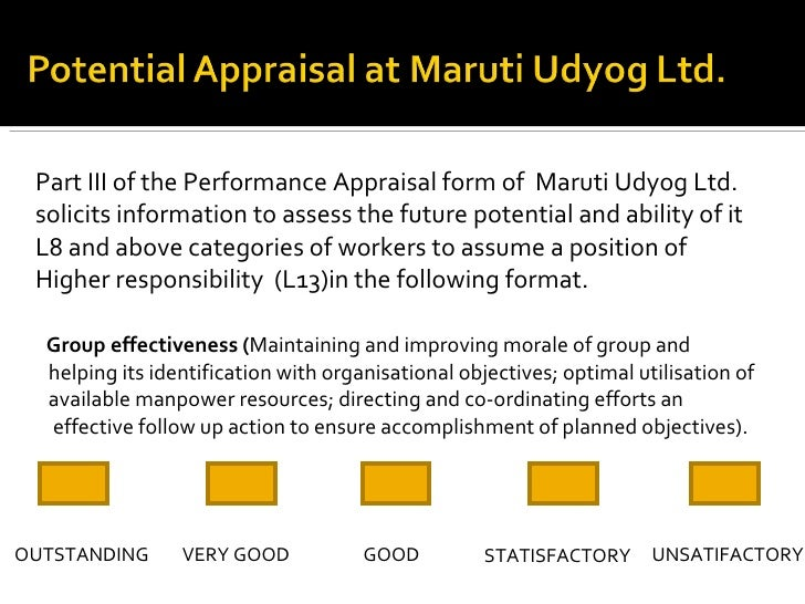 potential appraisal in maruti udyog Maruti udyog limited large potential demand led to inflows of foreign direct investment (fdi) by the mid-1990s by the end of 1997.