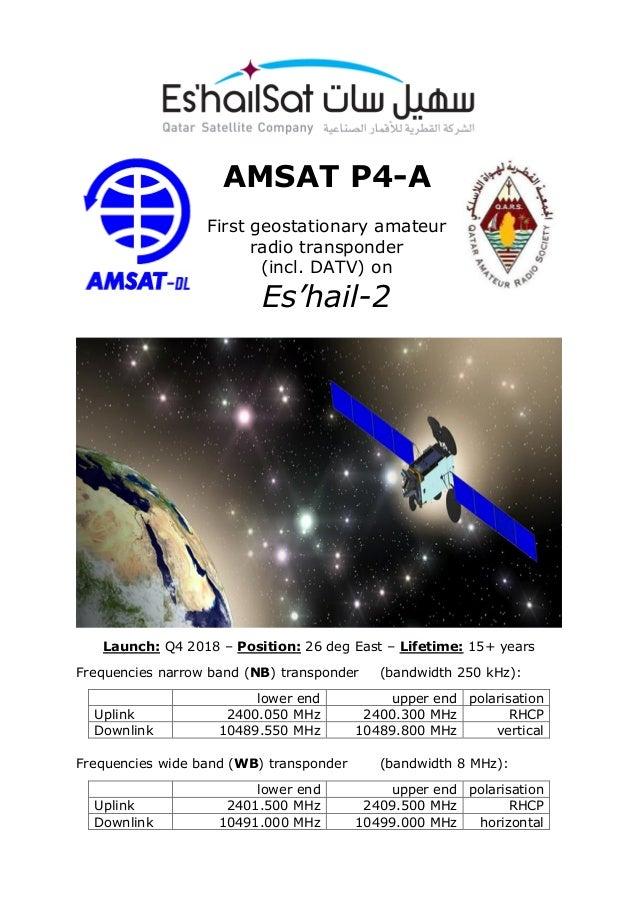 Leaflet Es'hail 2 /Qatar OSCAR-100 (QO-100) for satellite