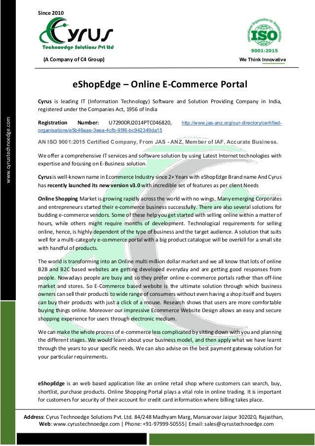 Since 2010 (A Company of C4 Group) We Think Innovative Address: Cyrus Technoedge Solutions Pvt. Ltd. 84/248 Madhyam Marg, ...