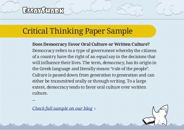 critical thinking paper on democracy political science paper on nati  4 essaysharkcritical thinking paper sample does democracy favor