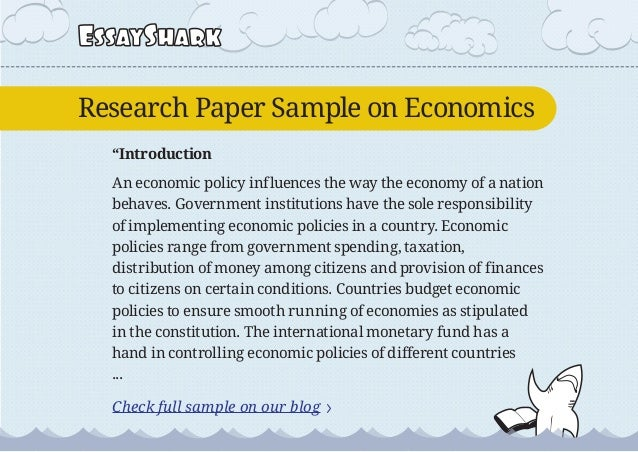 Research Paper Sample On Economics And Research Paper Sample On Obesi…
