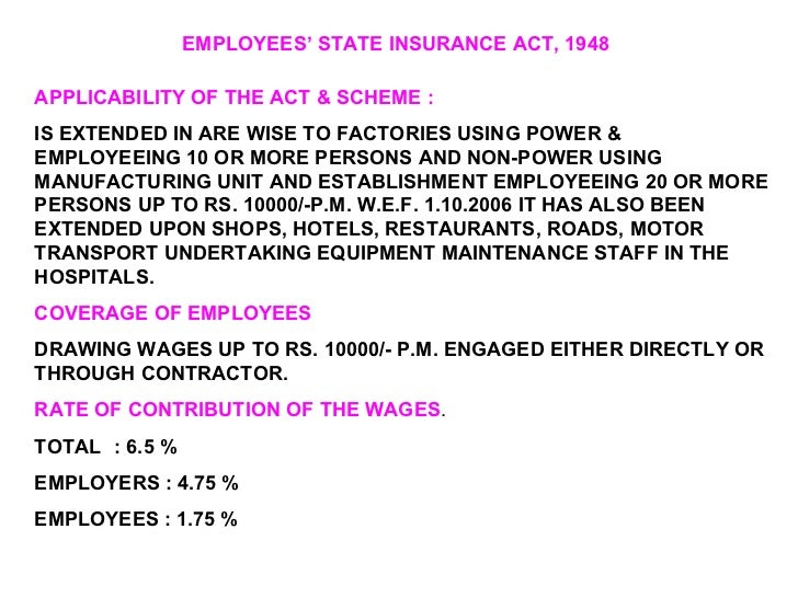 employee state insurance act 1948 Employee state insurance act 1948 (esi act) explained with calculation & example - duration: 5:55 labour law advisor 17,073 views.