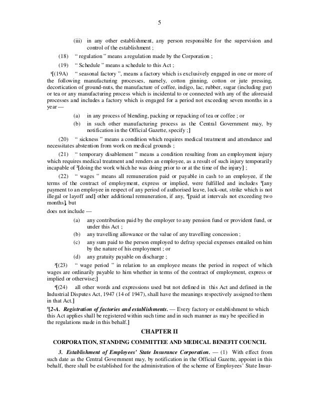 esi act 1948 Employees state insurance act, 1948 print version last updated on: 11/02/ 2014 the act is downloaded from website of legislative department,  government.