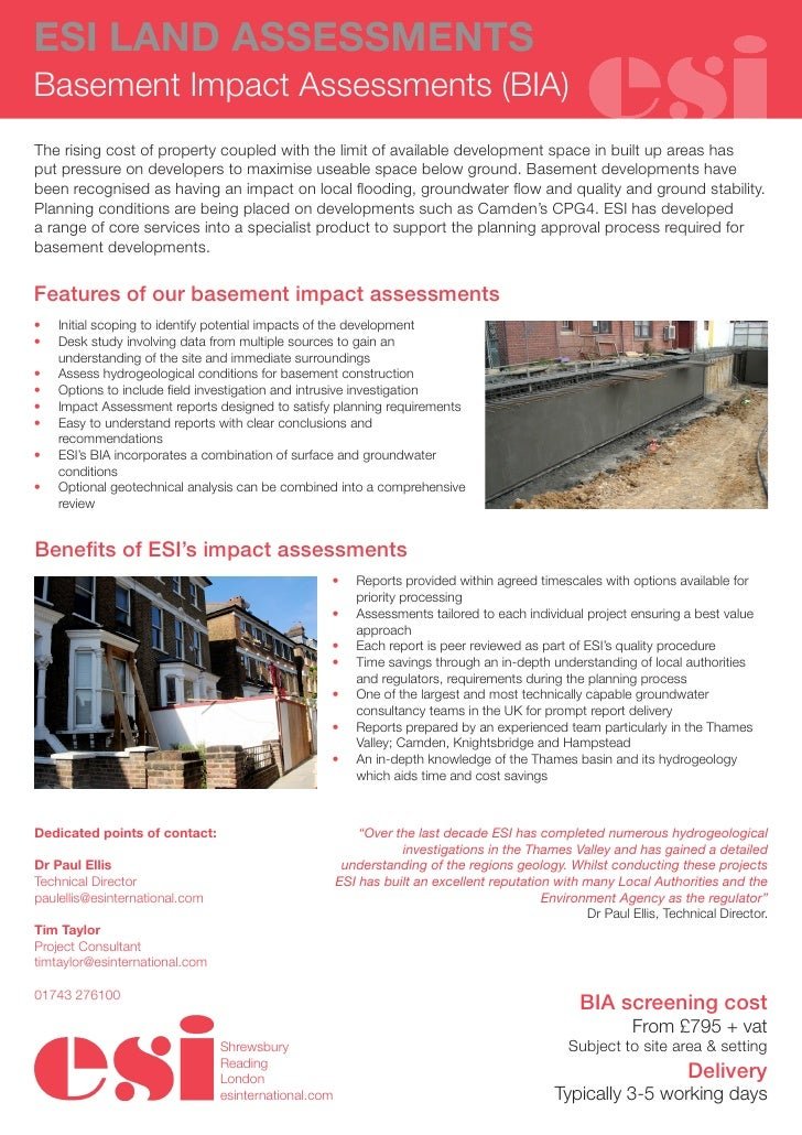 ESI LAND ASSESSMENTSBasement Impact Assessments (BIA)The rising cost of property coupled with the limit of available devel...