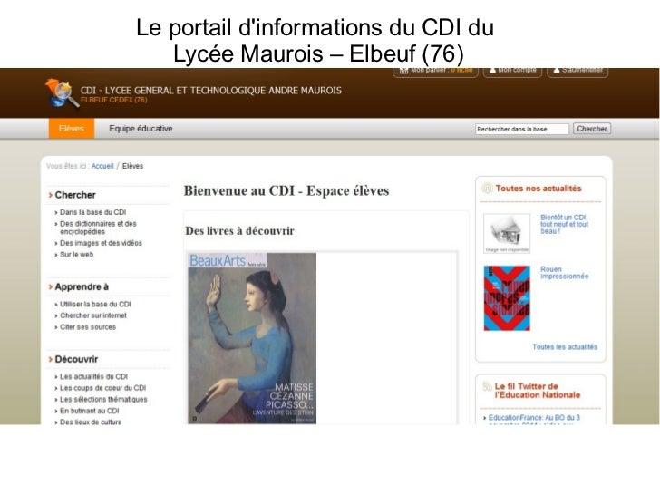 Le portail d'informations du CDI du  Lycée Maurois – Elbeuf (76)