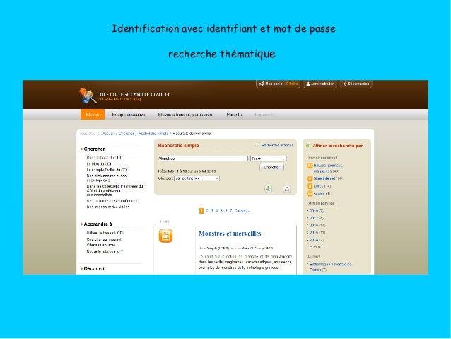 Identification avec identifiant et mot de passe recherche thématique