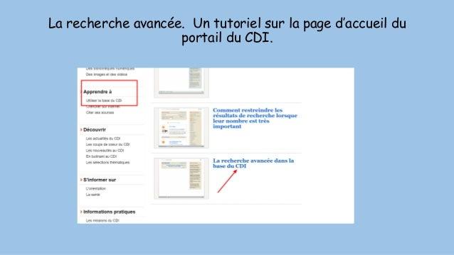 La recherche avancée. Un tutoriel sur la page d'accueil du portail du CDI.