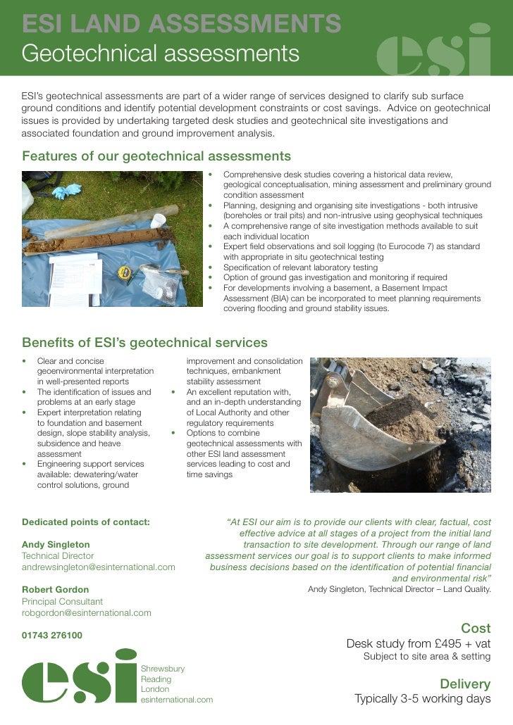 ESI LAND ASSESSMENTSGeotechnical assessmentsESI's geotechnical assessments are part of a wider range of services designed ...