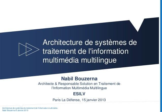 Architecture de systèmes de traitement de l'information multimédia Nabil Bouzerna © Janvier 2013 Architecture de systèmes ...