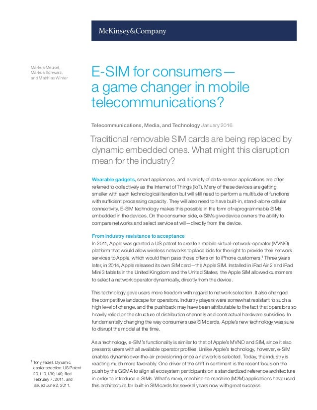eSIM for consumers - a game changer in mobile telecommunications