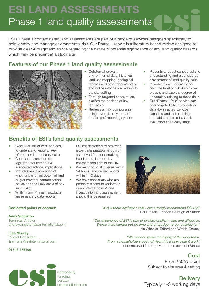 ESI LAND ASSESSMENTSPhase 1 land quality assessmentsESI's Phase 1 contaminated land assessments are part of a range of ser...