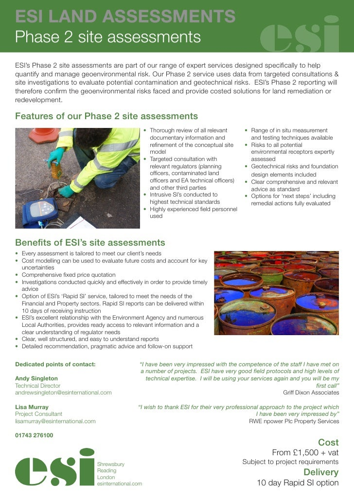 ESI LAND ASSESSMENTSPhase 2 site assessmentsESI's Phase 2 site assessments are part of our range of expert servicesdesign...