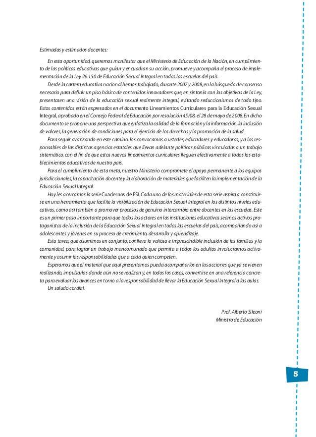 5 Estimadas y estimados docentes: En esta oportunidad,queremos manifestar que el Ministerio de Educación de la Nación,en c...
