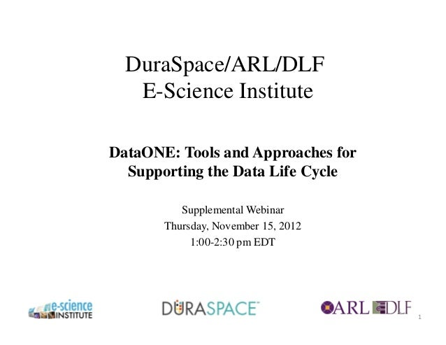 DuraSpace/ARL/DLF   E-Science InstituteDataONE: Tools and Approaches for  Supporting the Data Life Cycle          Suppleme...
