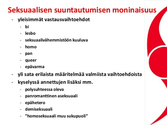 Seksuaalisen suuntautumisen moninaisuus - yleisimmät vastausvaihtoehdot - bi - lesbo - seksuaalivähemmistöön kuuluva - hom...