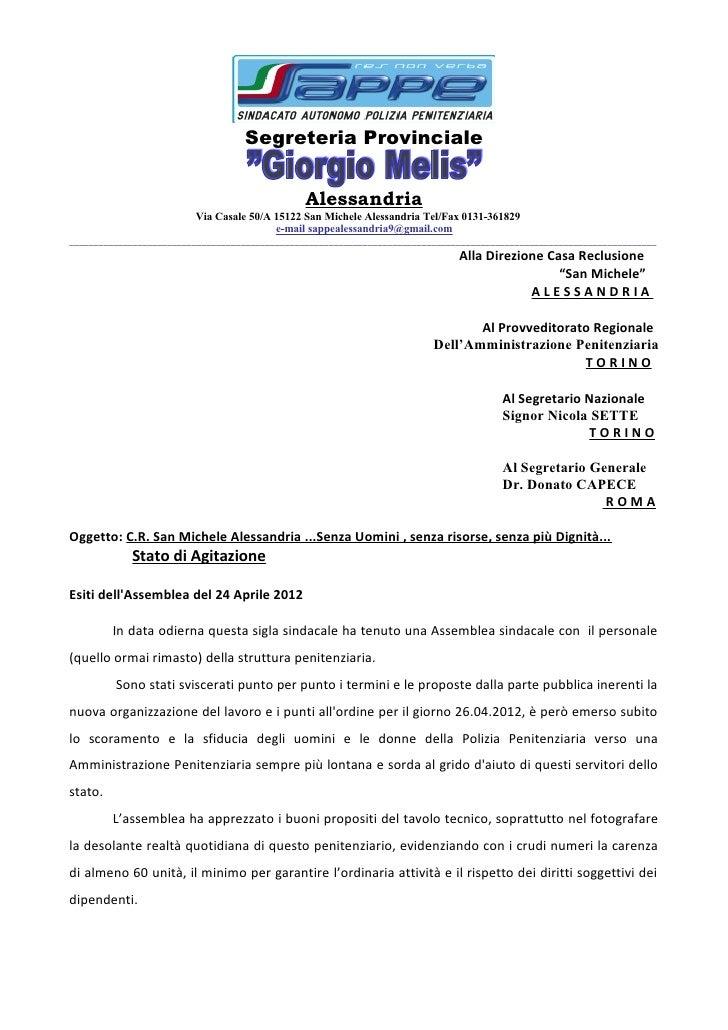 Segreteria Provinciale                                                Alessandria                         Via Casale 50/A ...