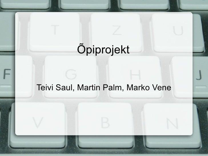 Õpiprojekt Teivi Saul, Martin Palm, Marko Vene