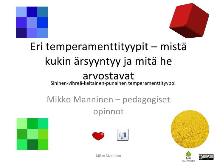 Eri temperamenttityypit – mistä kukin ärsyyntyy ja mitä he arvostavat Mikko Manninen – pedagogiset opinnot Mikko Manninen ...
