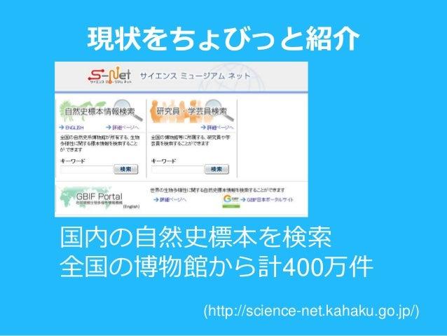 現状をちょびっと紹介 (http://science-net.kahaku.go.jp/) 国内の自然史標本を検索 全国の博物館から計400万件