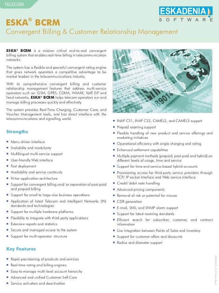 ESKA® BCRMConvergent Billing & Customer Relationship ManagementESKA® BCRM is a mission critical end-to-end convergentbilli...