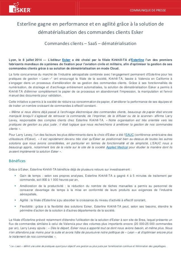 COMMUNIQUE DE PRESSE Esterline gagne en performance et en agilité grâce à la solution de dématérialisation des commandes c...