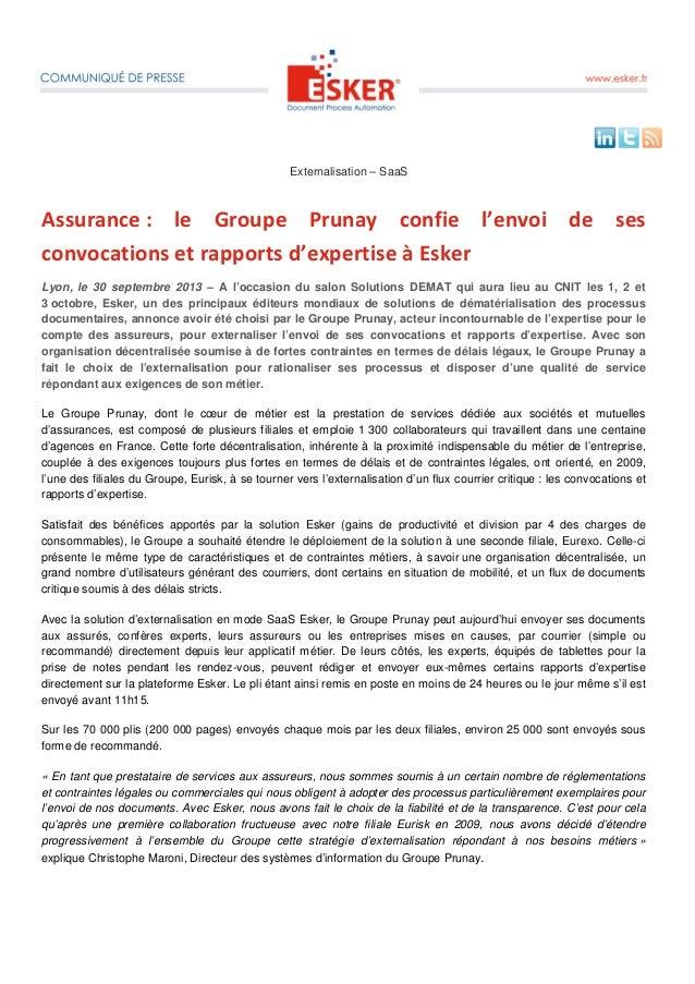 Externalisation – SaaS Assurance : le Groupe Prunay confie l'envoi de ses convocations et rapports d'expertise à Esker Lyo...
