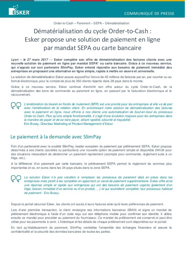 Carte Bancaire Dematerialisee.Dematerialisation Du Cycle Order To Cash Esker Propose Une Solution