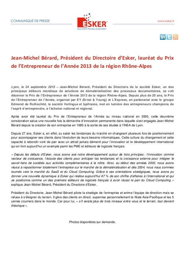 Jean-Michel Bérard, Président du Directoire d'Esker, lauréat du Prix de l'Entrepreneur de l'Année 2013 de la région Rhône-...