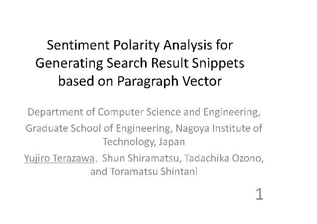 Sentiment Polarity Analysis for Generating Search Result Snippets based on Paragraph Vector