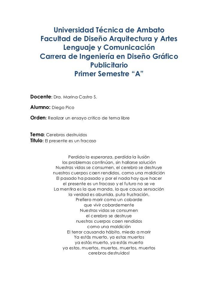 Universidad Técnica de Ambato    Facultad de Diseño Arquitectura y Artes          Lenguaje y Comunicación    Carrera de In...