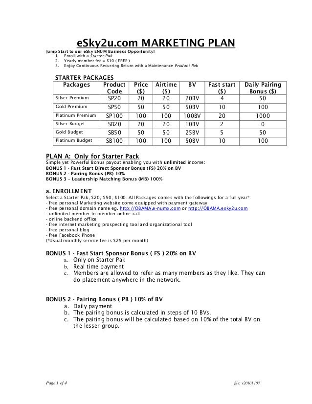 Page 1 of 4 file: v20101103 eSky2u.com MARKETING PLAN Jump Start to our eSky ENUM Business Opportunity! 1. Enroll with a S...
