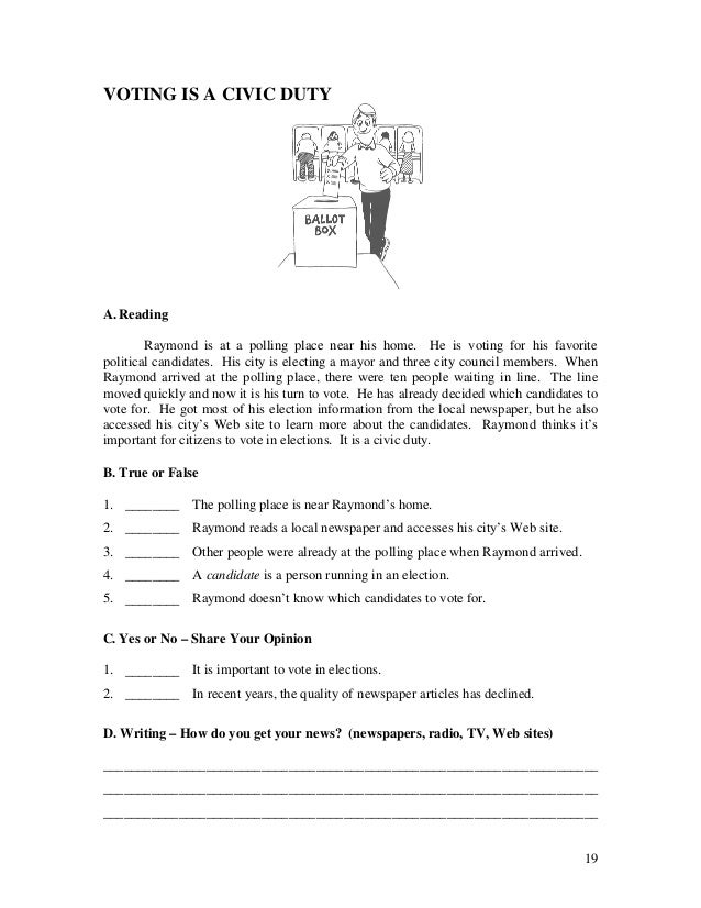 Printables Esl Civics Worksheets esl ebook worksheets for beggining level 19