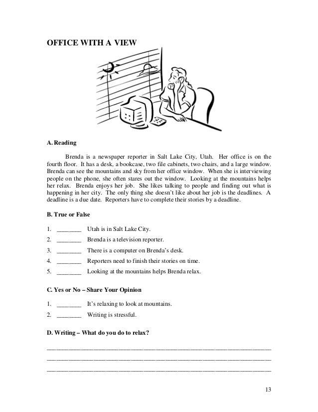 ESL English Language Reading Quiz Worksheets Book 1 Short