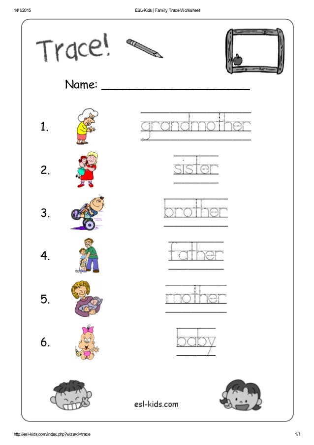 Esl kids family trace worksheet