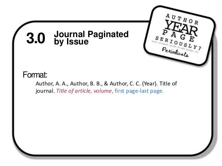 APA Format: Periodicals Template