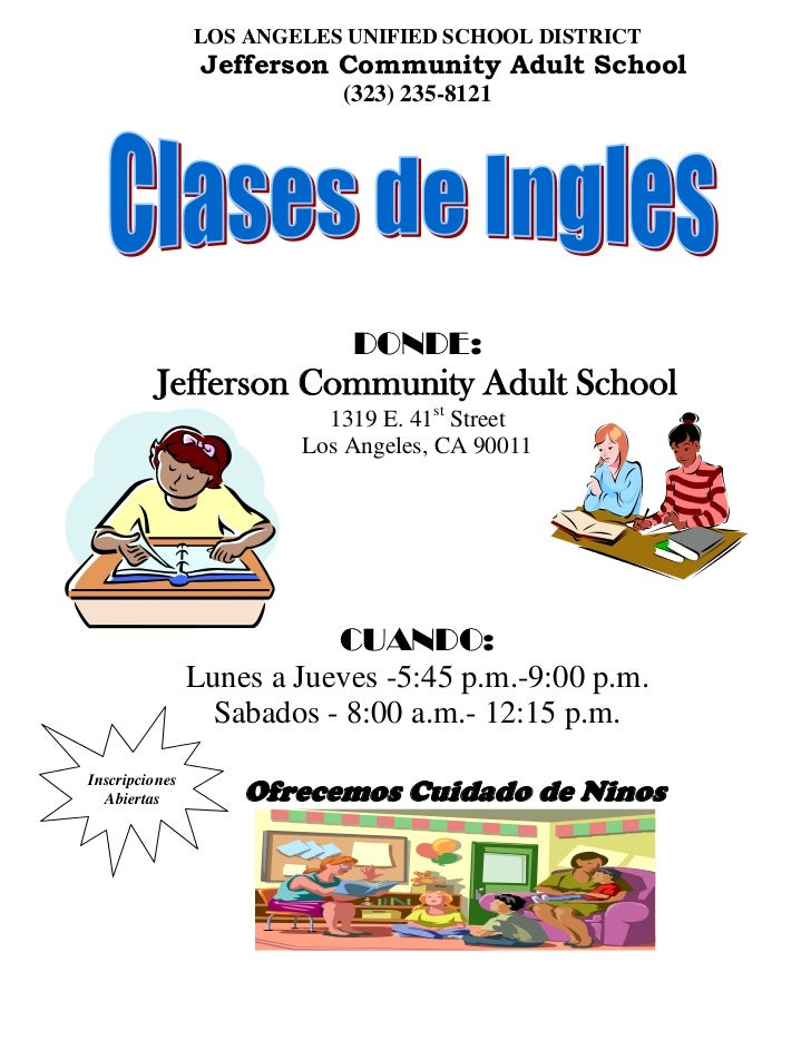 LOS ANGELES UNIFIED SCHOOL DISTRICT                 Jefferson Community Adult School                           (323) 235-8...