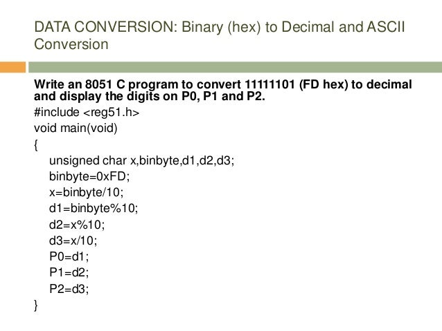 Intel 8051 Programming in C