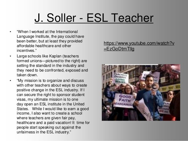 J. Soller - ESL Teacher • ―When I worked at the International Language Institute, the pay could have been better, but at l...