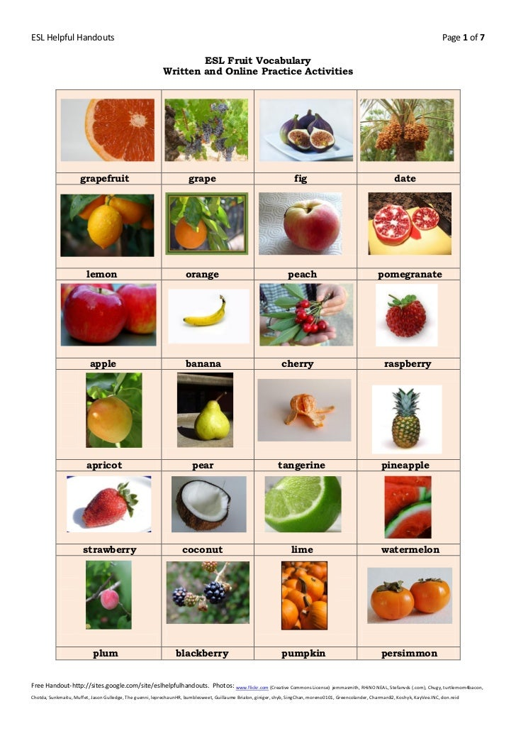 English In Italian: Esl Fruit Vocabulary