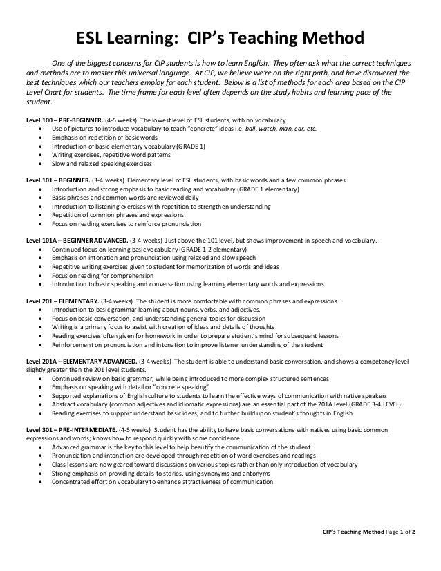 CIP's Teaching Method Page 1 of 2 ESL Learning: CIP's Teaching Method One of the biggest concerns for CIP students is how ...