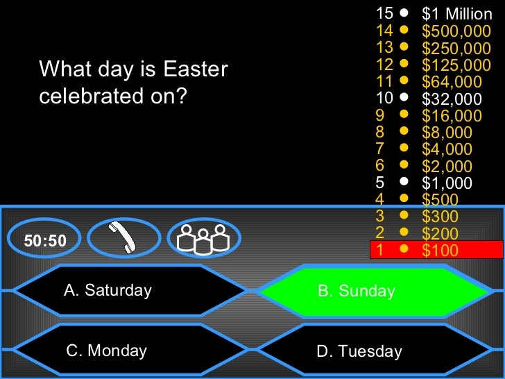 15     $1 Million                            14     $500,000                            13     $250,000 What day is Easter...