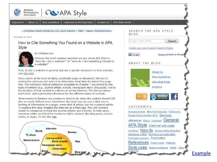 cite apa style website For more information on citing websites and webpages, please consult the apa manual and the apa style blog – website entire website according to the apa manual (6th ed), you do not need to cite entire websites in the reference list.