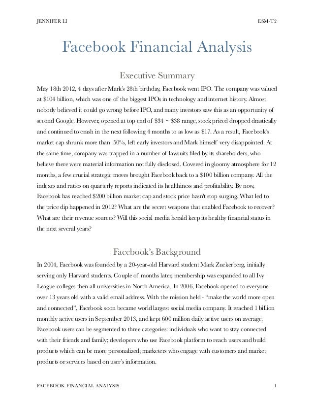 facebook executive summary The executive summary is a miniature version of your marketing plan – an elevator pitch of sorts it has a section that summarizes each component that your marketing plan covers in detail.